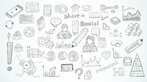 Social Media doodles Sketch set with infographics elements. Isolated, vector shapes. It include lots of icons included graphs, stats, devices,laptops, clouds Stock Images