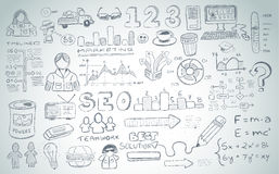 Social Media doodles Sketch set with infographics elements isolated Stock Image