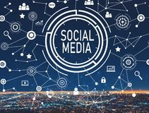 Social media with downtown LA. Social media with downtown Los Angeles at night vector illustration