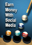 Social media - Earn money. Success social media concept as billiards table with 5 balls google, facebook, twitter, blogspot and youtube tree target by one shoot stock image