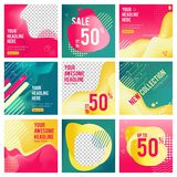 Social media editable banners. Minimalism web offers template pictures with place for text vector posting banners. Web page with sale offer, flyer card stock illustration