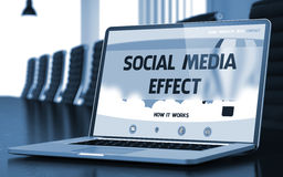 Social Media Effect on Laptop in Meeting Room. 3D. Social Media Effect Concept. Closeup Landing Page on Mobile Computer Screen on Background of Meeting Hall in Royalty Free Stock Photos