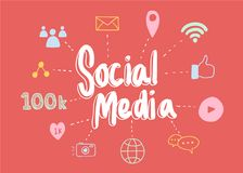 Social media elements illustration isolate on red background Royalty Free Stock Images
