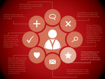 Social media elements on red background Royalty Free Stock Photo