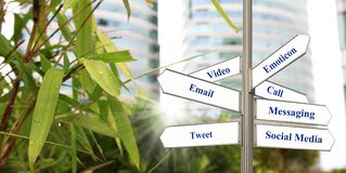 Social media, email and digital communication. Shown in a direction signage concept Stock Photography