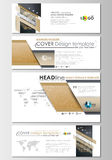 Social media and email headers set, modern banner templates. Cover design template, flat layout in popular sizes. Golden Royalty Free Stock Photos