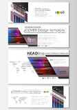 Social media and email headers set, modern banners. Abstract design template, vector layout in popular sizes. Glitched Royalty Free Stock Photos