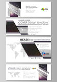Social media and email headers set, modern banners. Business design templates. Vector layouts in popular sizes. Dark Royalty Free Stock Images