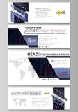 Social media and email headers set, modern banners, templates. Layouts in popular sizes. Abstract colorful neon dots. Social media and email headers set, modern Royalty Free Stock Images