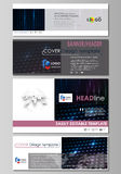 Social media and email headers set, modern banners, templates. Layouts in popular sizes. Abstract colorful neon dots. Social media and email headers set, modern Royalty Free Stock Photo