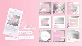 Social Media-Fahnenschablone für Ihr Blog oder Geschäft Nette Pastellrosadesigne eingestellt Stockbild