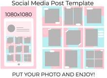 Social Media-Fahnenschablone stock abbildung
