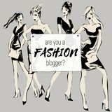 Social media fashion banner with beauty woman models, are you fashion blogger, ads web template collection. Vector illustration fo. R website, mobile banner Stock Images