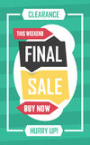 Social media final sale banner. Vector illustrations for website and mobile website banners, posters, email and newsletter designs. Ads, promotional material Royalty Free Stock Photos