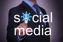 Social Media Finance Concept on Touch Screen Stock Images