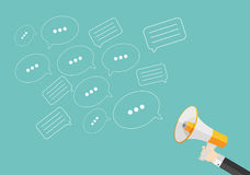 Social Media Flat Concept with Megaphone and Speech Bubles Messa Royalty Free Stock Images
