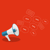 Social Media Flat Concept with Megaphone and Speech Bubles Messa Stock Images