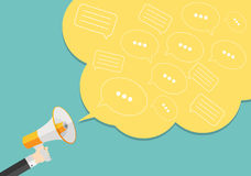 Social Media Flat Concept with Megaphone and Speech Bubles Messa Royalty Free Stock Photos