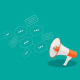 Social Media Flat Concept with Megaphone and Speech Bubles Messa Stock Photography