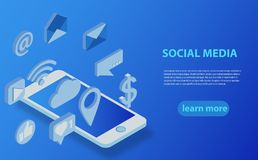 Social media flat 3d isometric concept vector icons. Desktop, chat, video, camera, phone, tablet. Flat web illustration infographics collection Royalty Free Stock Photography