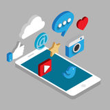 Social media flat 3d isometric concept vector icons. Desktop, chat, video, camera, phone, tablet. Flat web illustration infographics collection Stock Photo