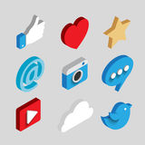 Social media flat 3d isometric concept vector icons. Desktop, chat, video, camera, phone, tablet. Flat web illustration infographics collection Royalty Free Stock Image