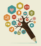 Social media flat icon concept tree. Multimedia social networks concept pencil tree. Vector illustration layered for easy manipulation and custom coloring Stock Photo