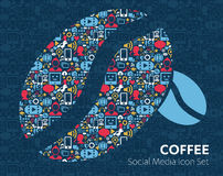 Social Media flat icons in a speech bubble Coffee beans, cup of coffee. Vector set of social media icons illustration concepts of shopping, network, mobile Royalty Free Stock Photo