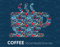 Social Media flat icons in a speech bubble Coffee beans, cup of coffee. Vector set of social media icons illustration concepts of shopping, network, mobile Royalty Free Stock Image