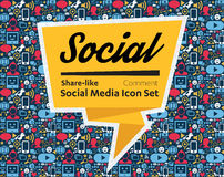 Social Media flat icons in a speech bubble Royalty Free Stock Image