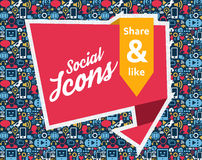 Social Media flat icons in a speech bubble. Flat icons in a speech bubble shape: technology, social media, network, link computer concept. Abstract background stock illustration