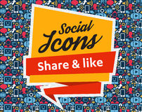 Social Media flat icons in a speech bubble. Flat icons in a speech bubble shape: technology, social media, network, link computer concept. Abstract background vector illustration