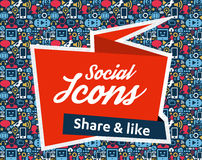 Social Media flat icons in a speech bubble. Flat icons in a speech bubble shape: technology, social media, network, link computer concept. Abstract background royalty free illustration