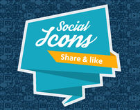 Social Media flat icons in a speech bubble Royalty Free Stock Photography