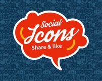 Social Media flat icons in a speech bubble Royalty Free Stock Images