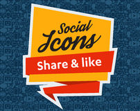 Social Media flat icons in a speech bubble Stock Image