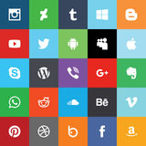 Social media flat icons. Vector Royalty Free Stock Image