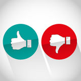 Social media flat like dislike hand icon Royalty Free Stock Images