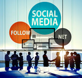 Social Media Follow Networking Connecting Internet Concept Royalty Free Stock Photos