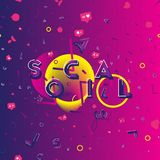 Social media - a font inscription with icons of new friends, likes and comments with beautiful design elements. Flat vector illust royalty free illustration
