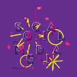 Social media - a font inscription with icons of new friends, likes and comments with beautiful design elements. Flat. Vector illustration EPS 10 Royalty Free Stock Images