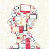 Social media gadgets icons man head Royalty Free Stock Photos