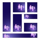 Social Media gibt Satz in den verschiedenen Größen mit Illustration 3d von bekannt lizenzfreie abbildung