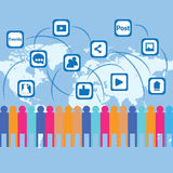 Social media global connections illustration. People connecting through Social media related connections all over the globe-a creative illustration Royalty Free Stock Photos