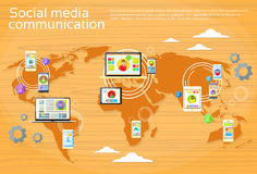 Social Media-globale Kommunikations-Leute-Weltkarte Lizenzfreie Stockfotos