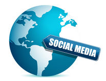 Social media globe sign. Over a white background Stock Image