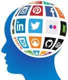 Social media globe Stock Images