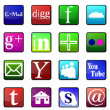 Social media glossy icons Royalty Free Stock Photography