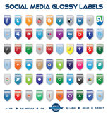 Social Media Glossy Labels. This is a simple, elegant and professional collection of vectorized social media labels suitable for your web, mobile or other design Stock Images