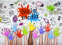 Social Media graphic with colorful hands.  Royalty Free Stock Photography